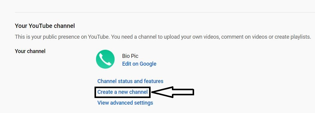 click on create new channel