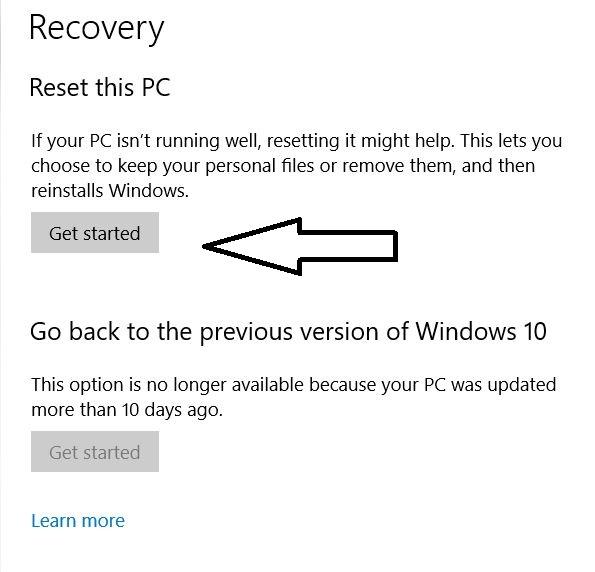 reset windows pc