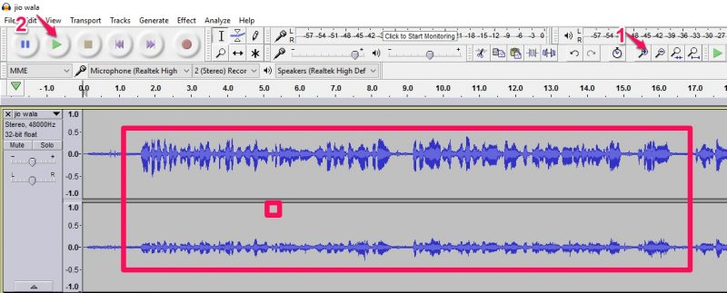 Audio editing step 2