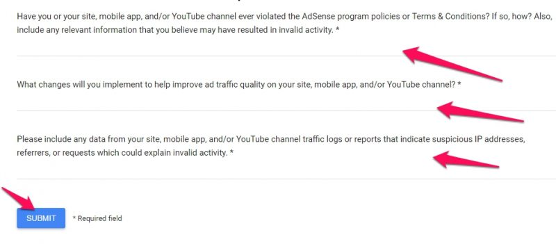 Adsense Invalid Activity Appeal Step 3