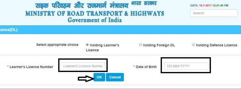 apply for Driving Licence