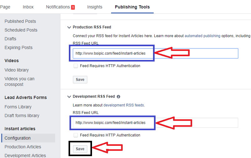 add facebook instant articles rss feed