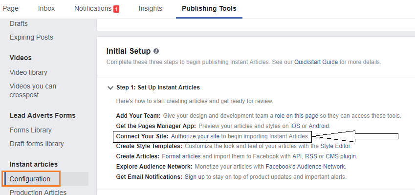 instant articles publishing tools