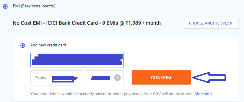 enter credit card detail and confirm payment