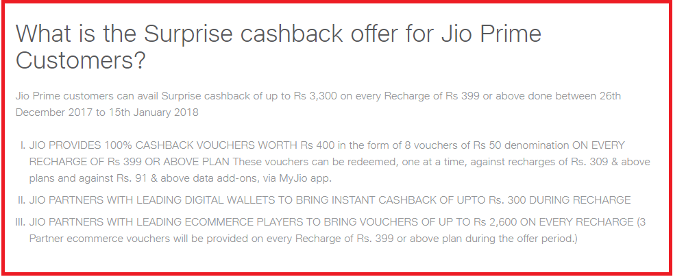 Jio Recharge conditions