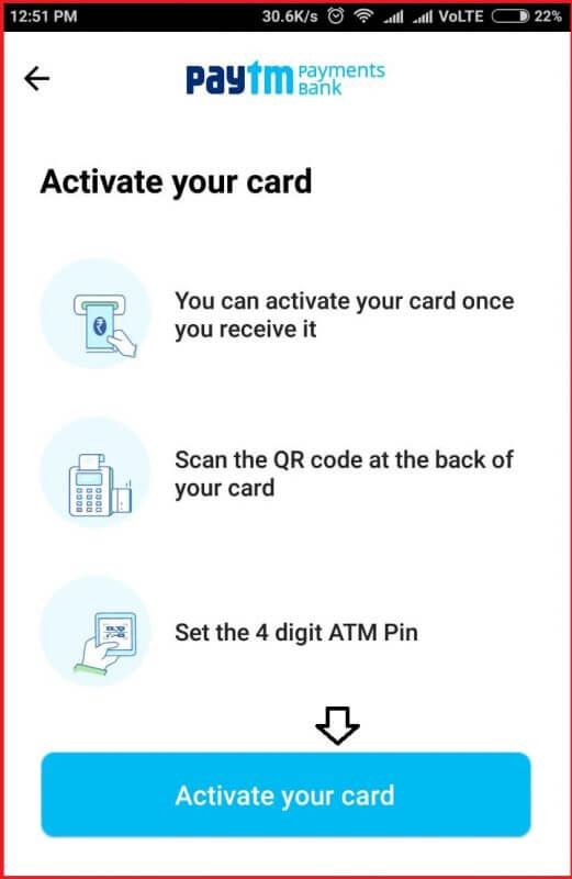 activate paytm card