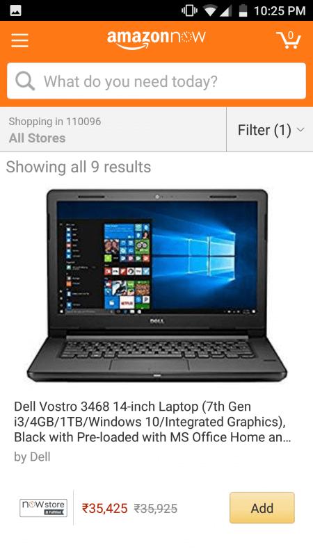 laptop on Amazon Now