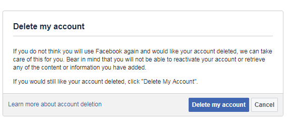 delete Fb account