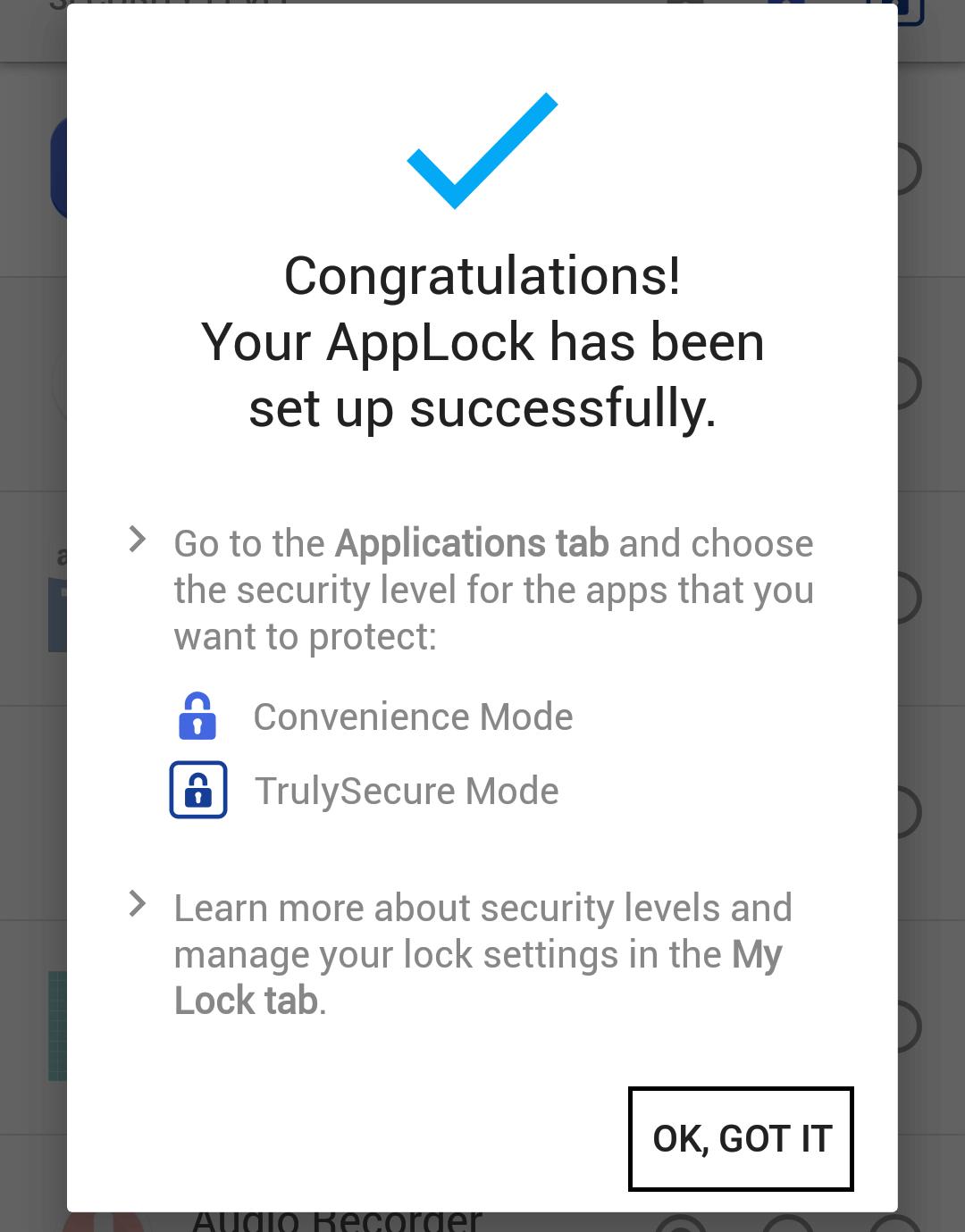 Applock access successfully