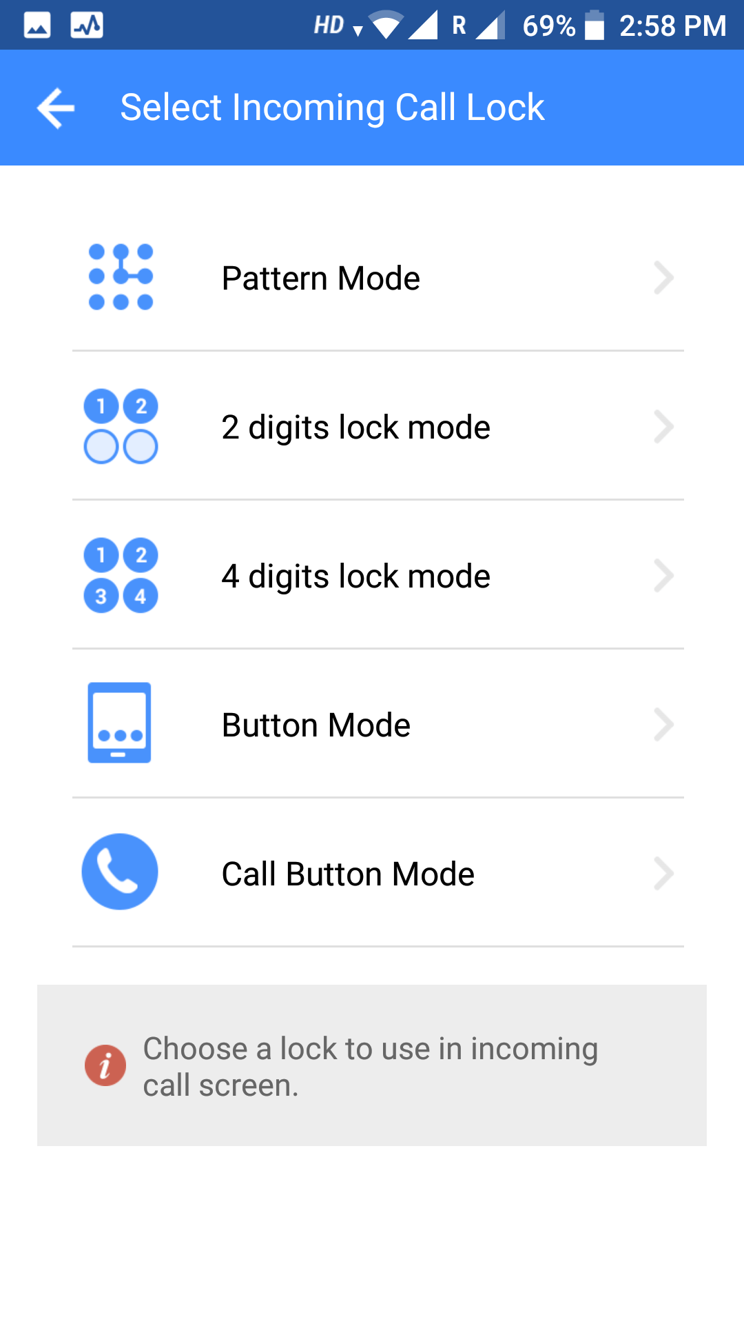 select password mode