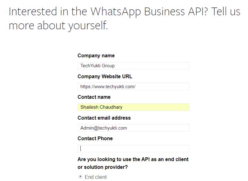 WhastApp API for business