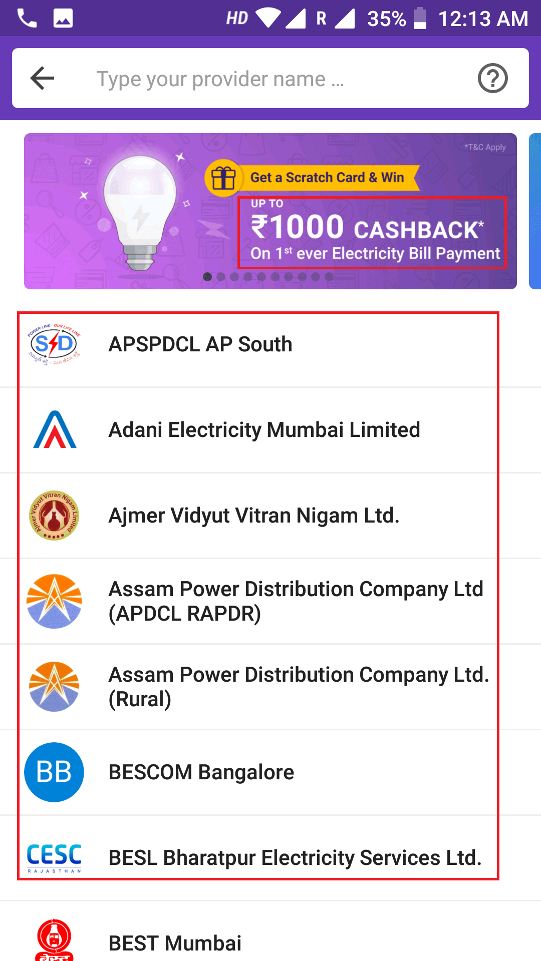 select electricity provider