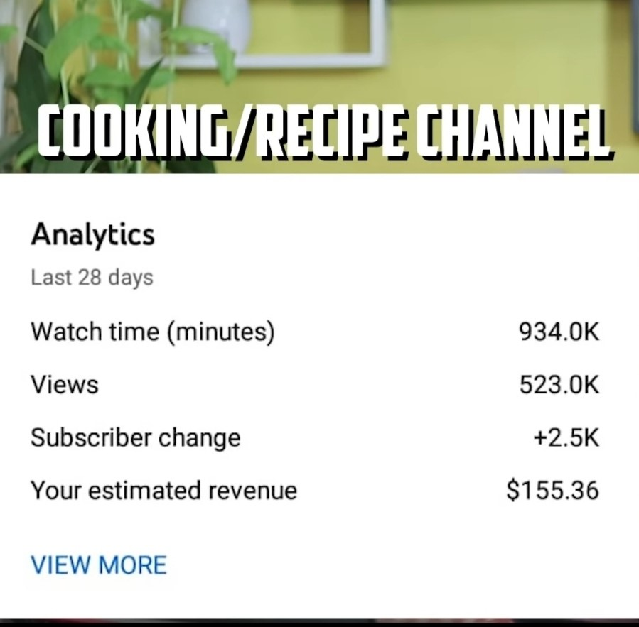 Income on cooking channel