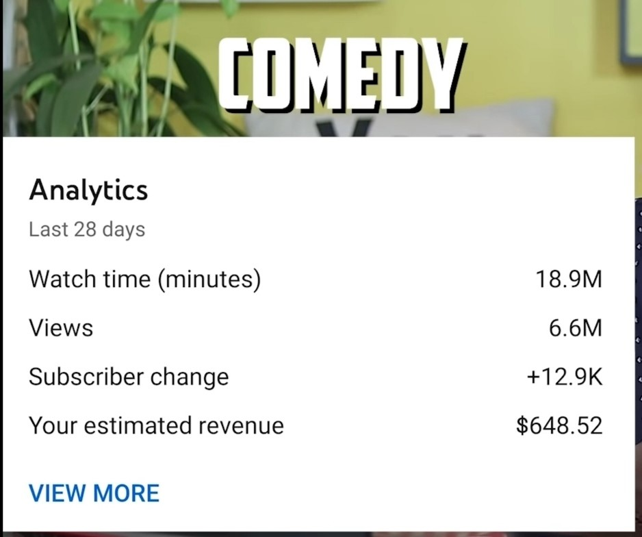 income on comedy channel