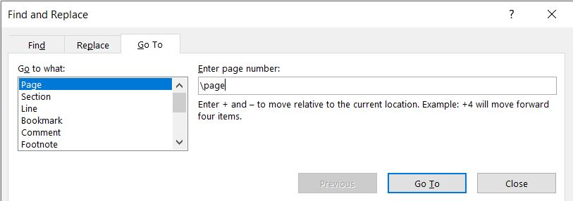 ms word page