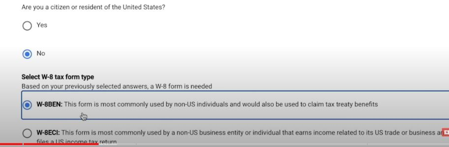 select citizenship and form type