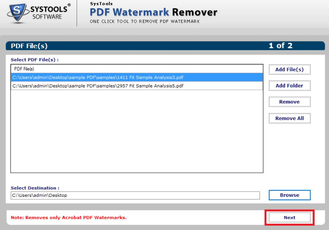 SysTools PDF Watermark Remover